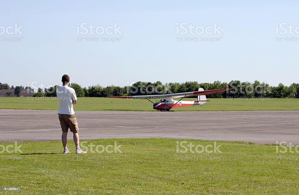 Spectator Watches Glider Landing royalty-free stock photo