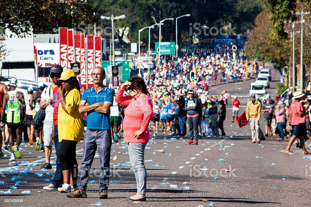 Spectators and Runners at Comrades Marathon in Durban 23 stock photo
