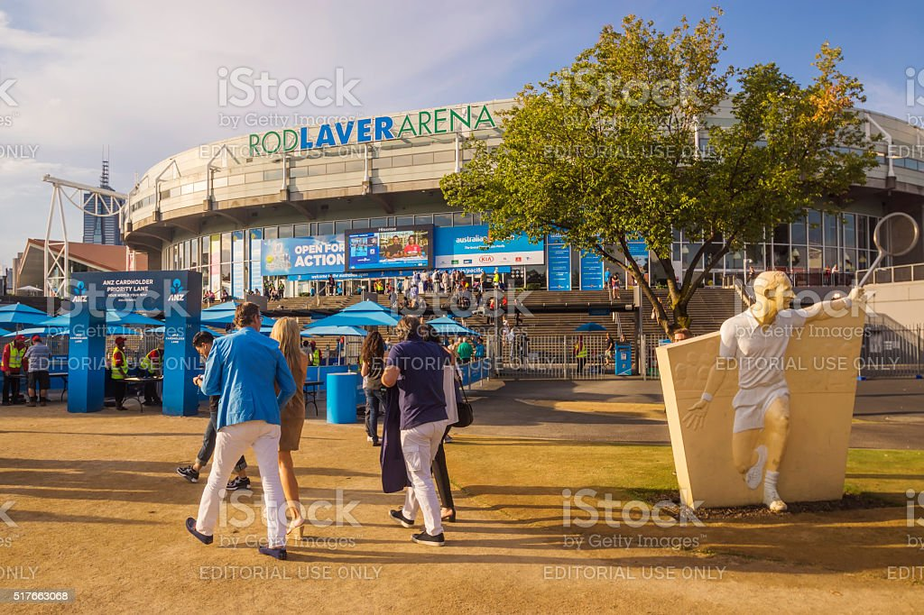 Spectators arriving at Rod Laver Arena stock photo