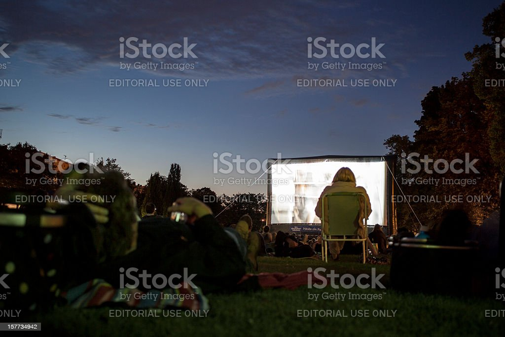 Spectators at Open-Air cinema, Wiesbaden stock photo