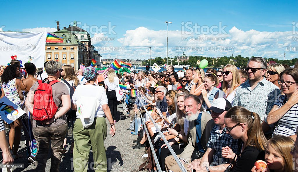 Spectators at Stockholm Pride Parade 2015 stock photo