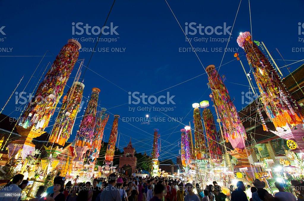 Spectators at Thai Buddhist festival stock photo