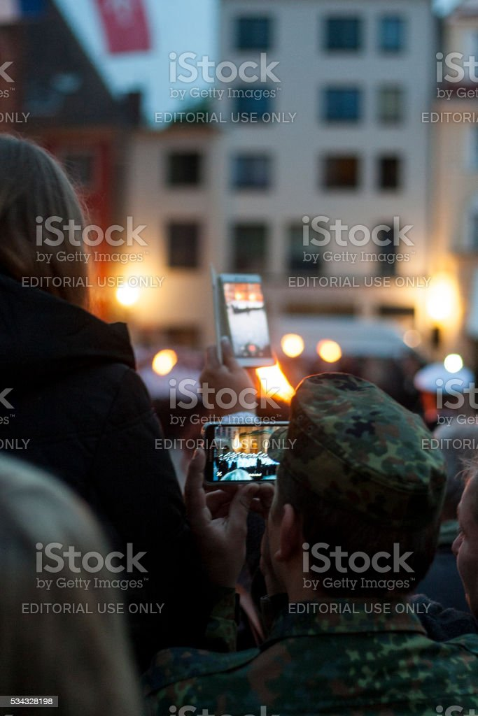 Spectators attending a swearing-in ceremony in Stralsund stock photo
