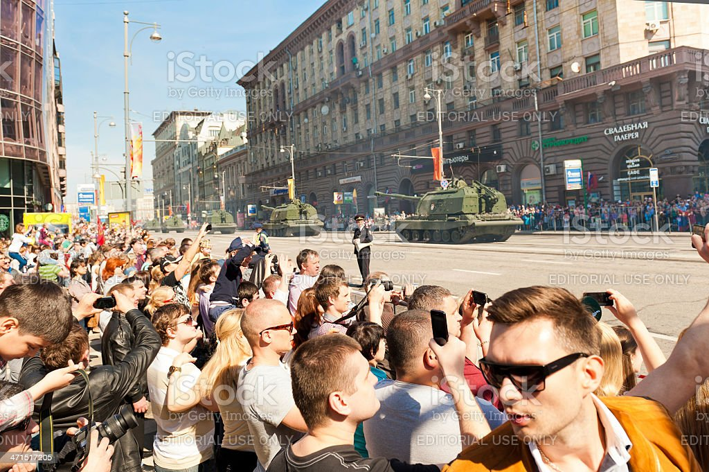 Spectators Gathered to Watch the Military Parade royalty-free stock photo