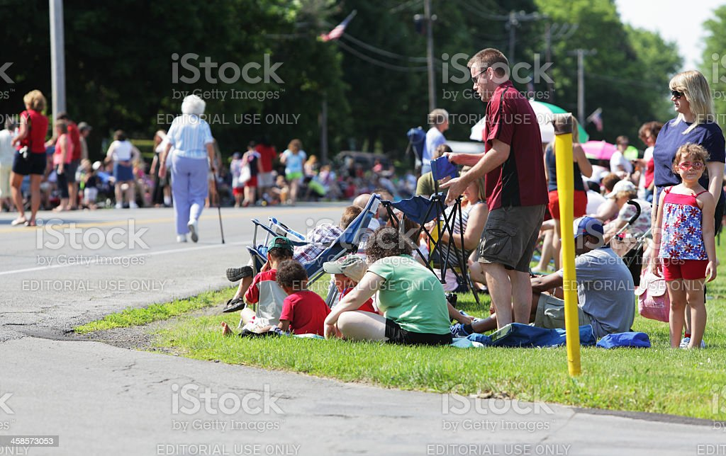 Spectators Gathering Waiting for July 4th Parade stock photo