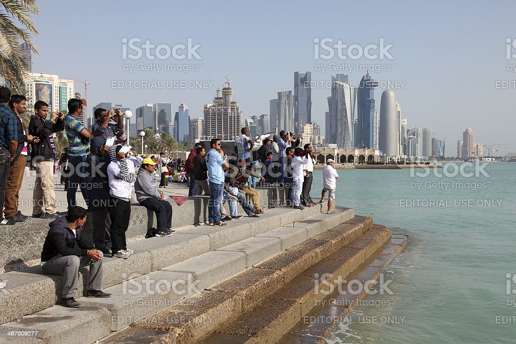 Spectators of the Airshow in Doha stock photo