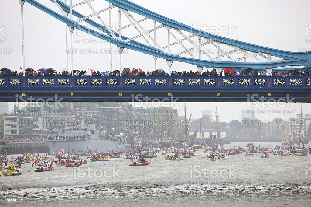 Spectators on Tower Bridge at the Diamond Jubilee River Pageant royalty-free stock photo