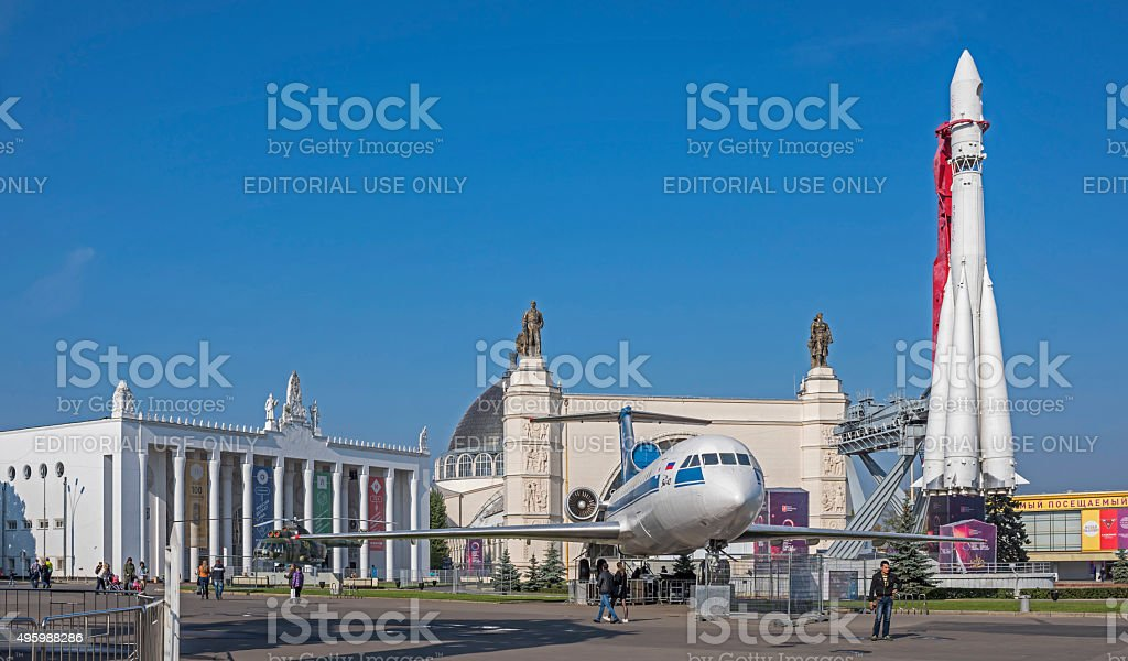 Spectators visiting spacecraft 'Vostok', planes and helicopters stock photo