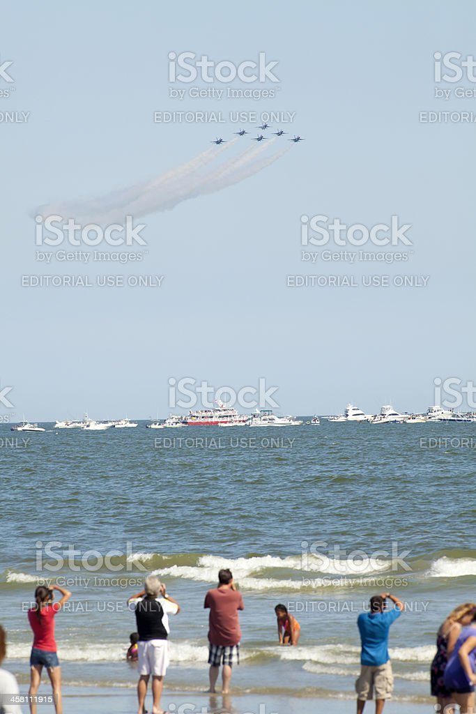 Spectators Watching the USAF Thunderbirds Preforming Precision Aerial Maneuvers royalty-free stock photo