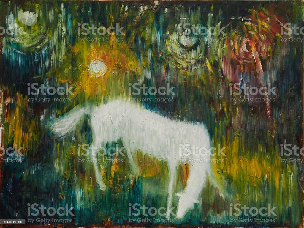 spectral meadow (modern abstract painting of white horse in meadow) stock photo
