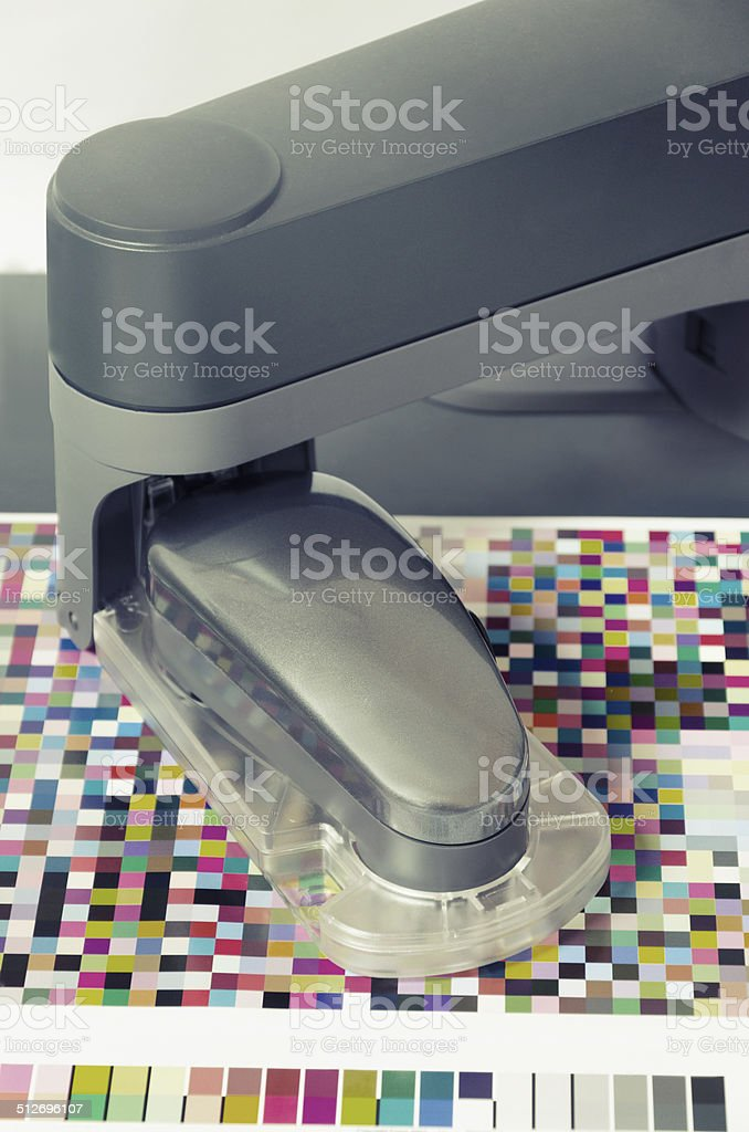 spectrophotometer calibration robot measurement instrument for color management, vintage stock photo