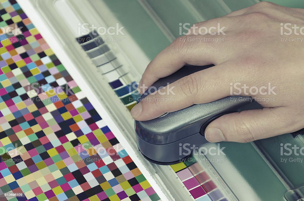 spectrophotometer verify color patches value on Test Arch, VINTAGE stock photo