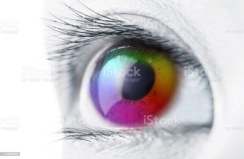 Spectrum multicolored Eye stock photo