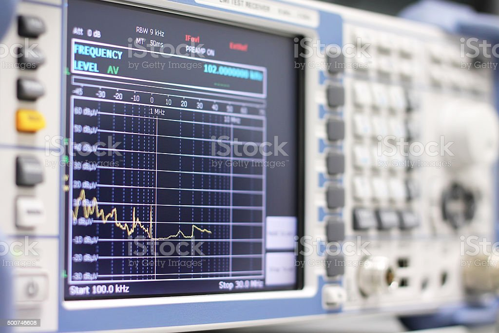 Spectrum on the EMI receiver or spectrum analyzer stock photo