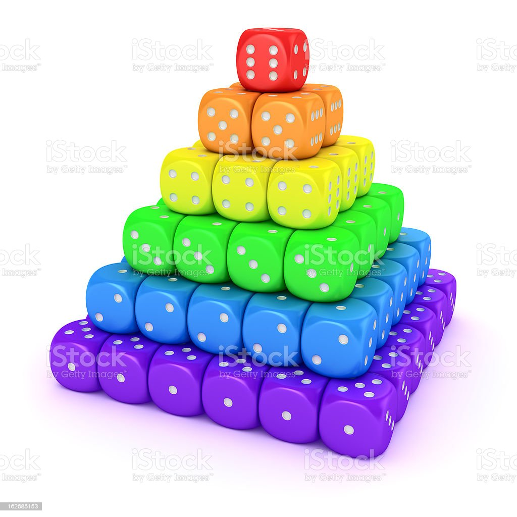 Spectrum pyramid from dice royalty-free stock photo