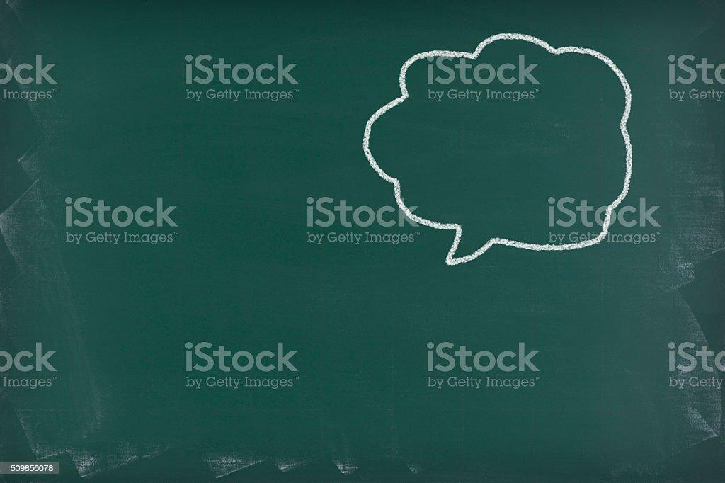 Speech balloon on a blackboard stock photo