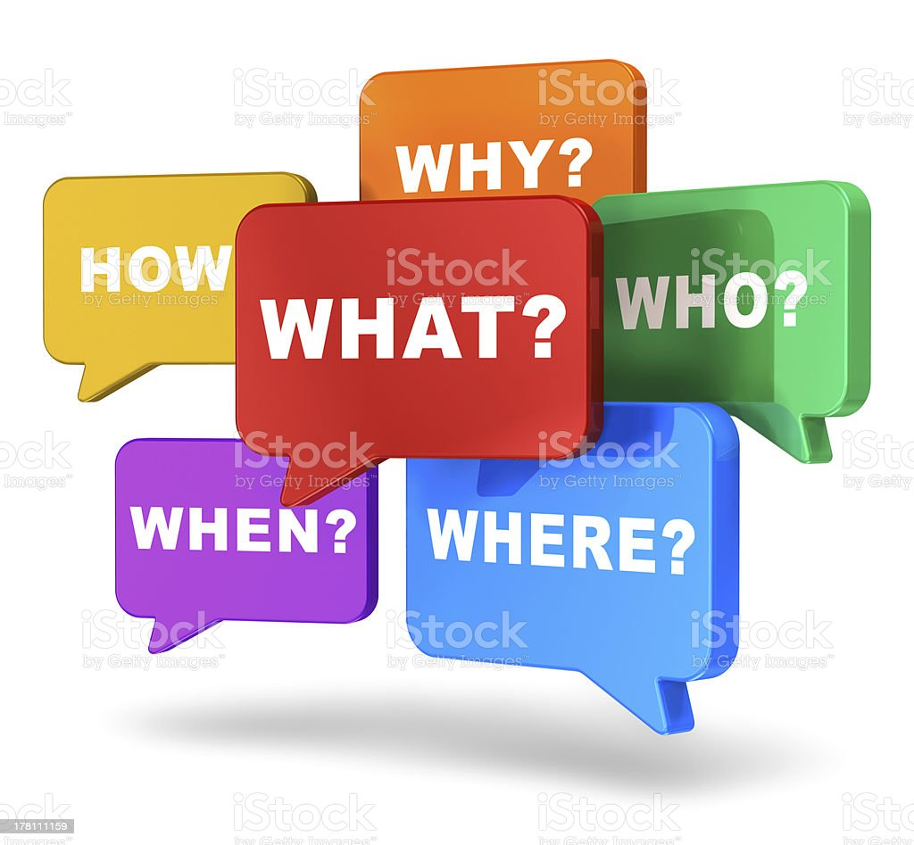 Speech balloons with questions stock photo