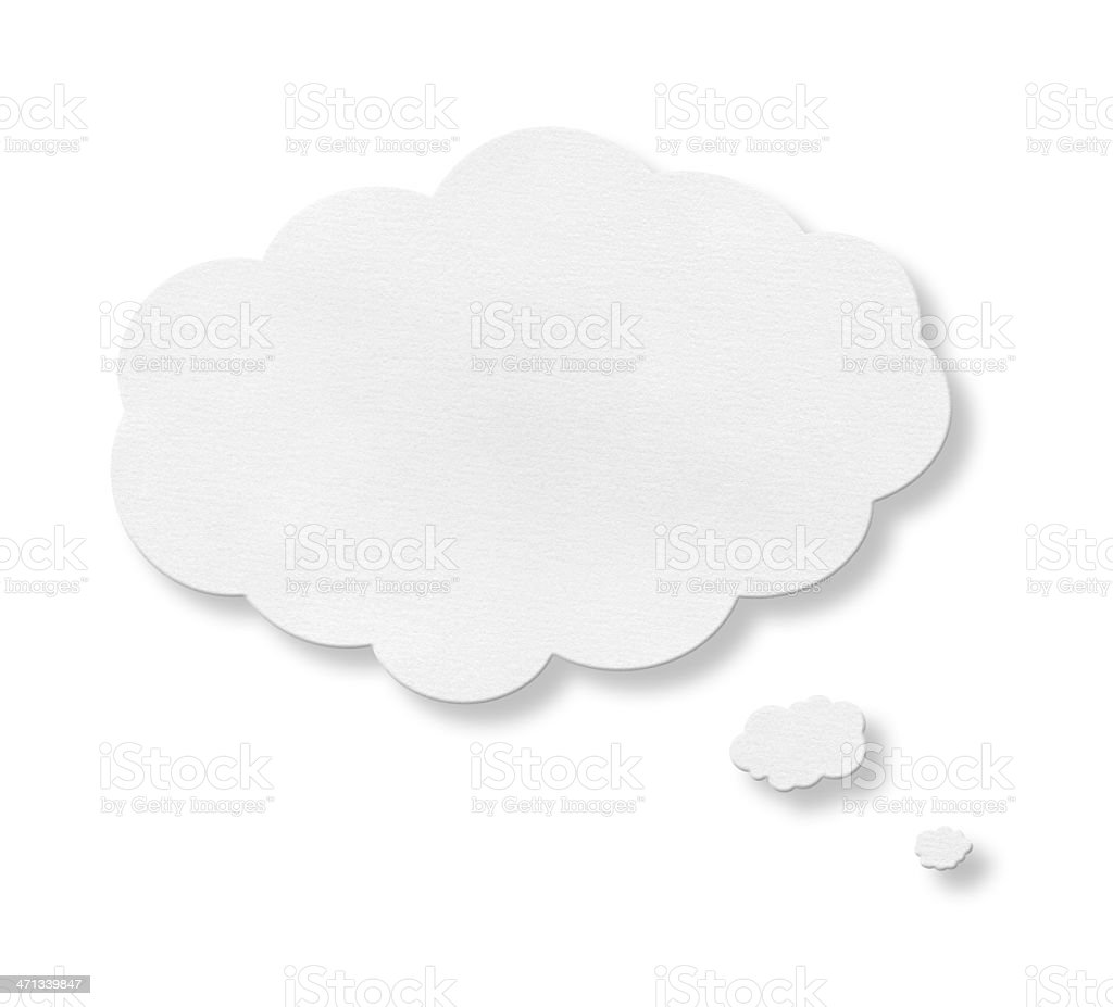 Speech bubble centered on a white background stock photo
