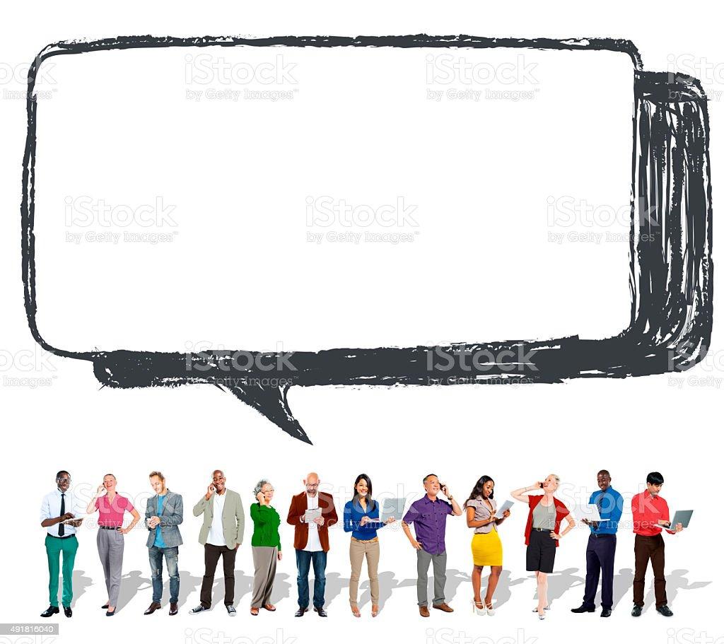 Speech Bubble Discussion Talking Symbol Concept stock photo