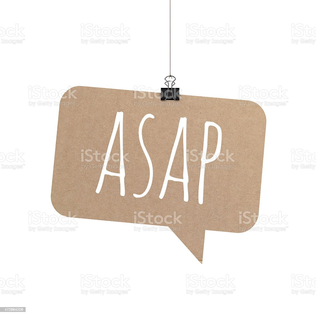 ASAP speech bubble hanging on a string stock photo