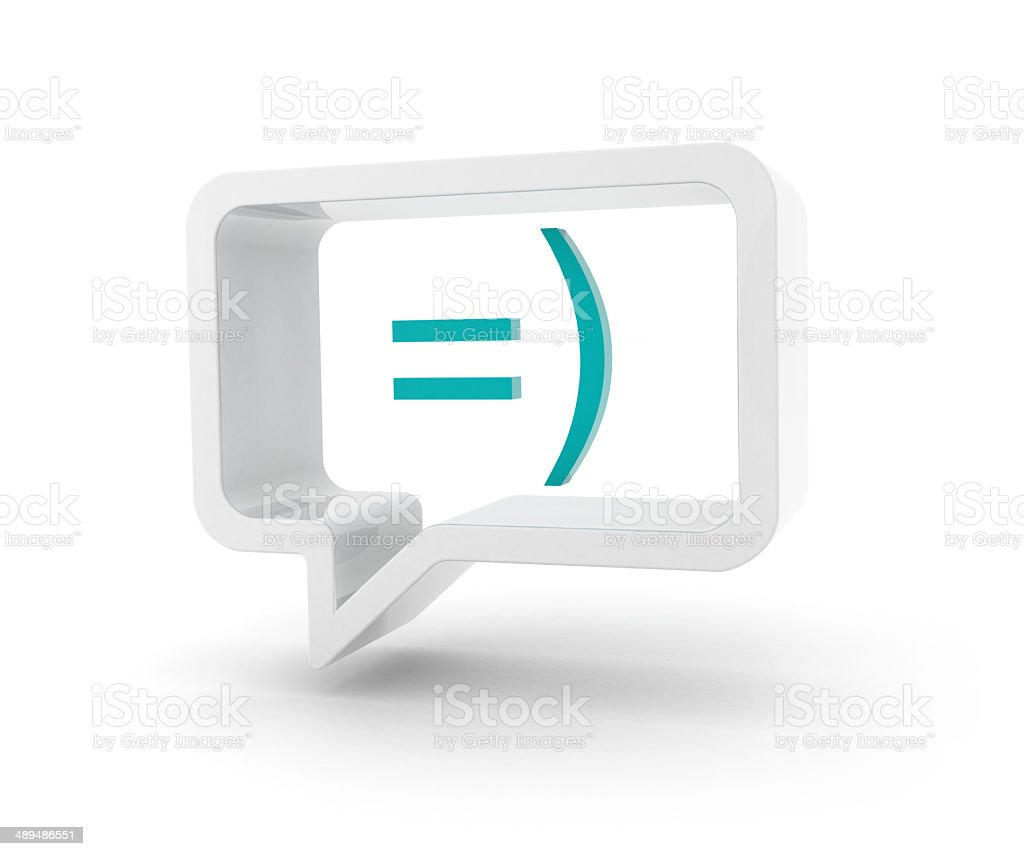 3D speech bubble - Happy smiley stock photo