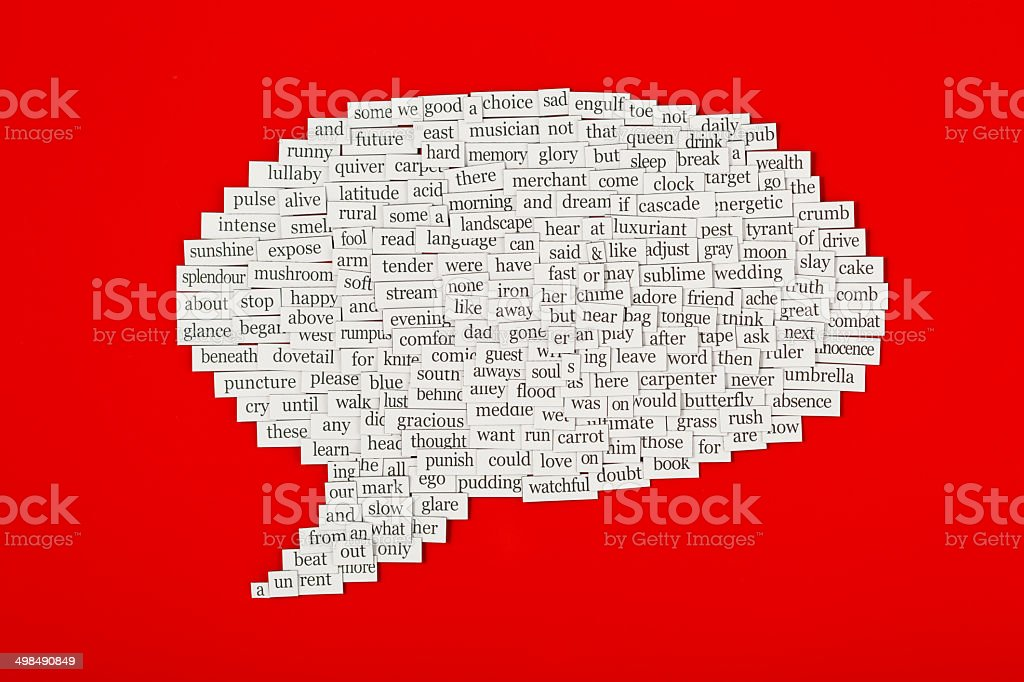 Speech bubble made up from hundreds of words stock photo