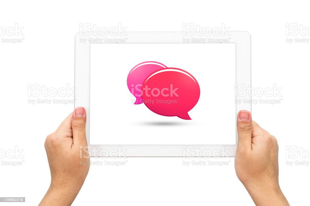 Speech bubble with holding tablet royalty-free stock photo