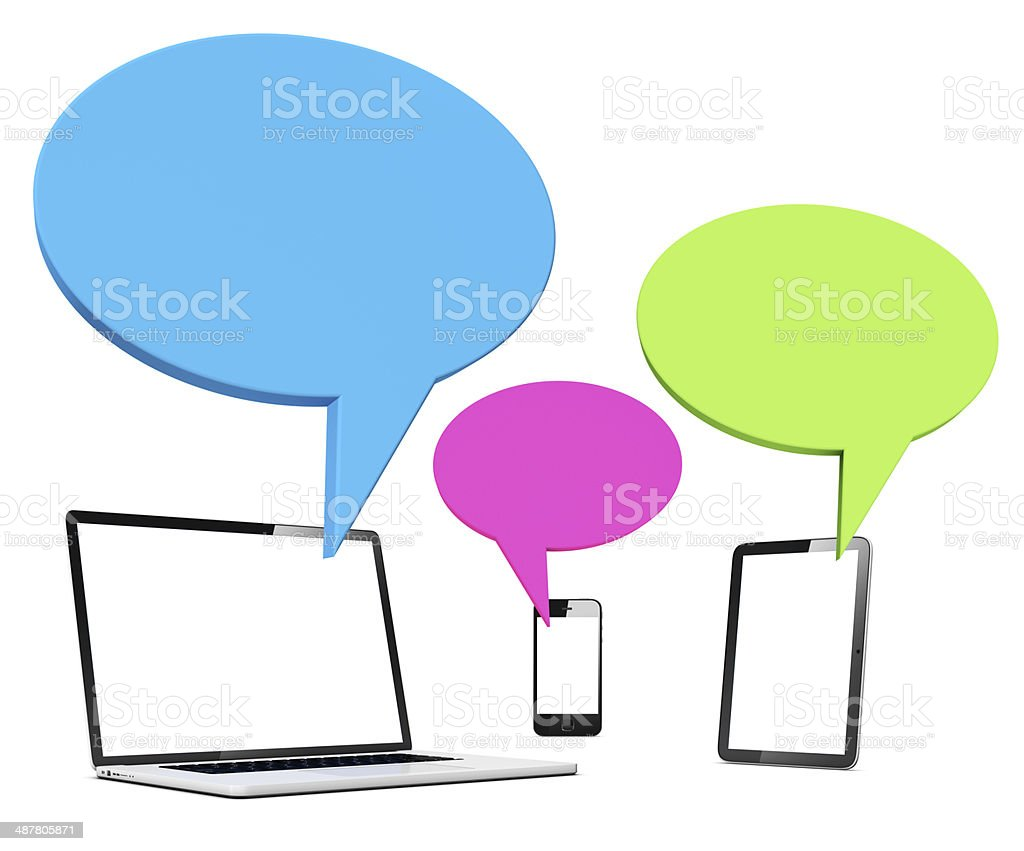 speech bubble with laptop  table and phone royalty-free stock photo