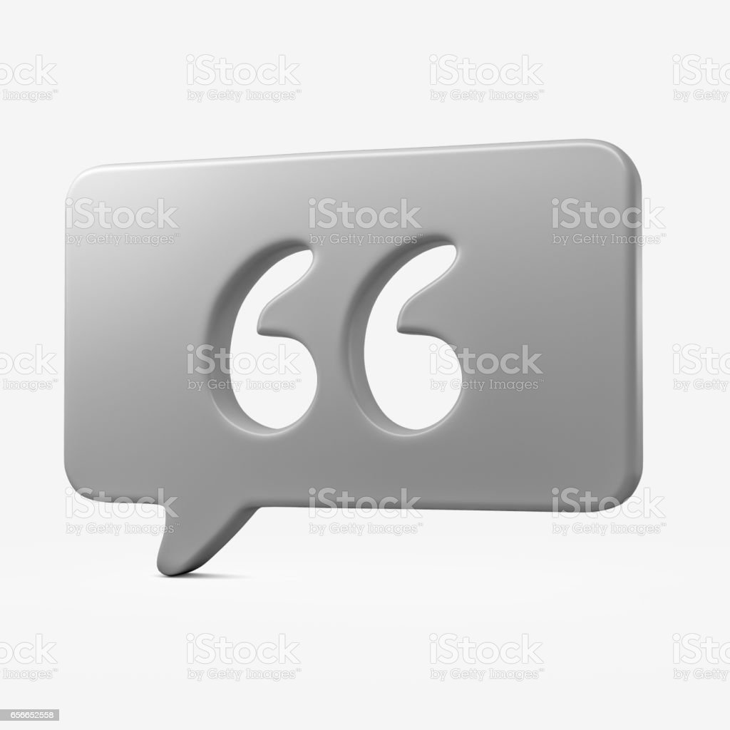 Speech Bubble With Quotation Marks on White Background stock photo