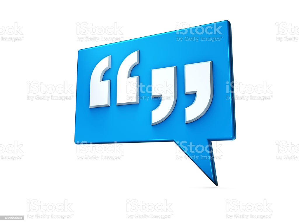 Speech bubble with quotes on blue stock photo
