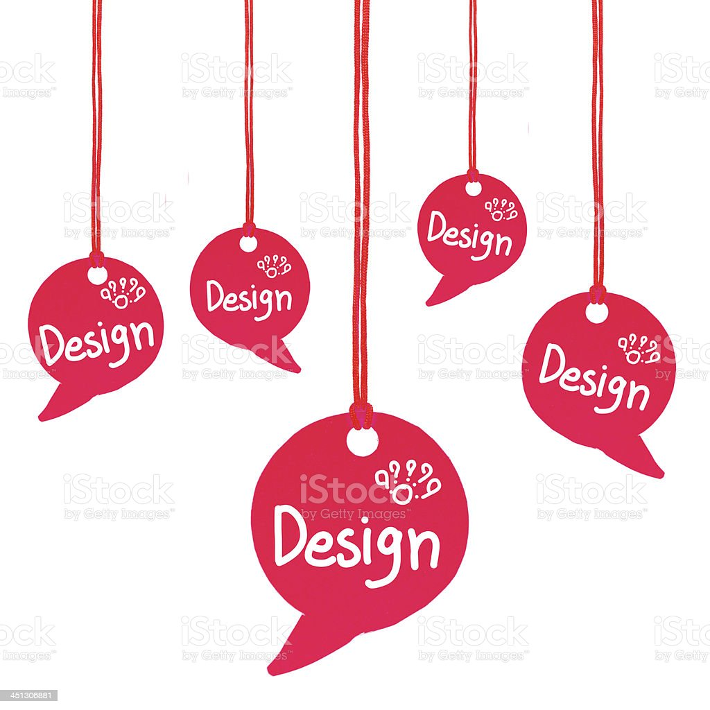 Speech bubbles about design hanging from string on red royalty-free stock photo