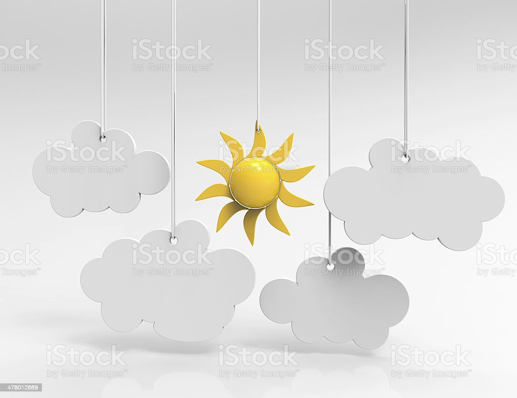 Speech bubbles clouds and sun royalty-free stock photo