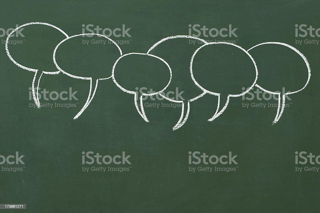 speech bubbles drawn on a blackboard royalty-free stock photo