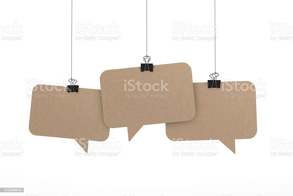 speech bubbles hanging on string stock photo