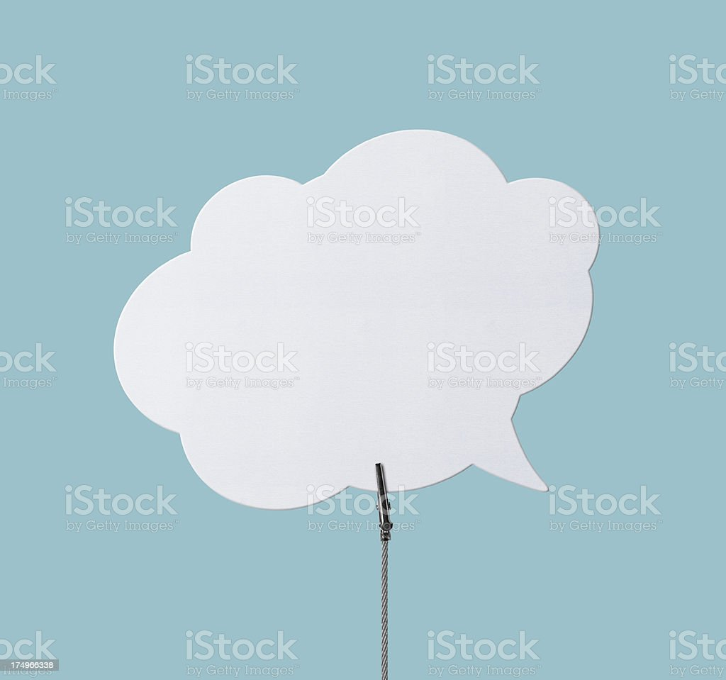 Speech Bubbles  in Wire Clamp (Clipping Path) royalty-free stock photo