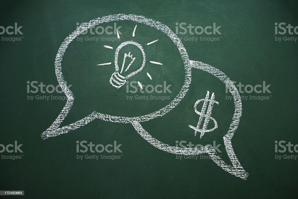 speech bubbles on a chalkboard royalty-free stock photo