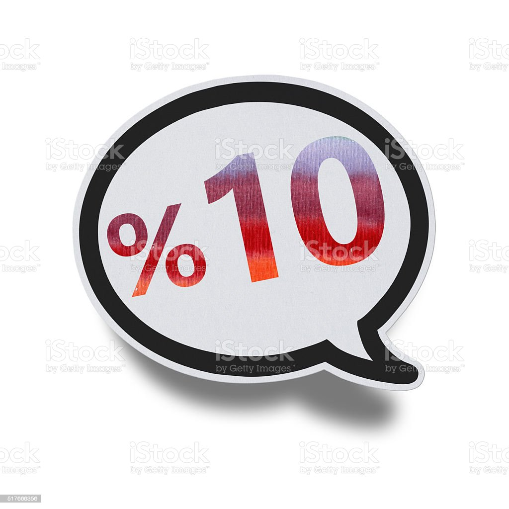 10% OFF Speech Bubbles (Clipping Path) stock photo