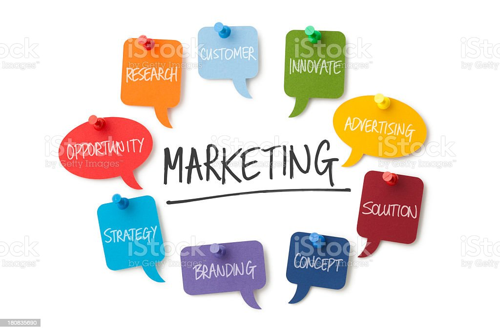 Speech bubbles with a marketing theme pinned up stock photo