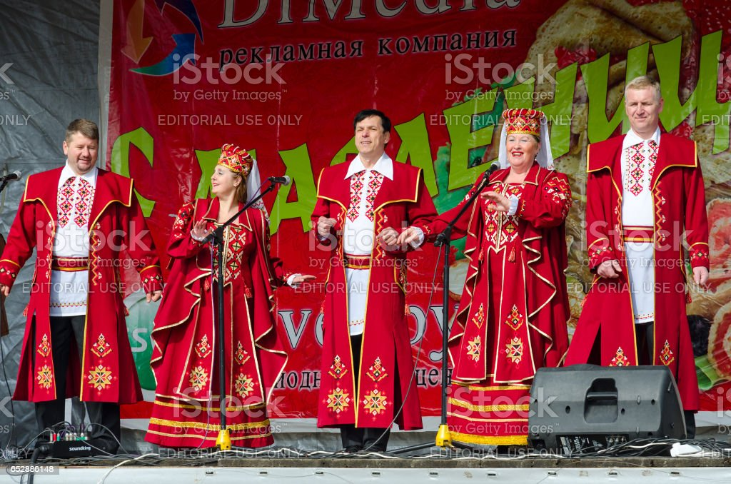 Speech by creative choral collective during mass Shrovetide celebrations stock photo