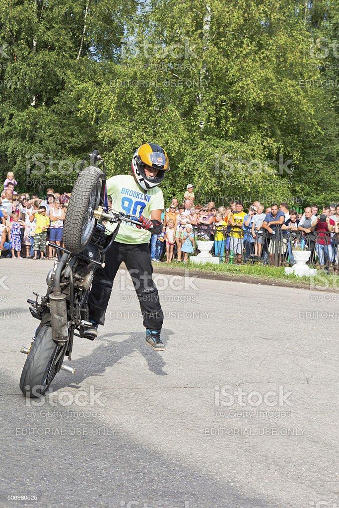 Speech by Thomas Kalinin on Moto show in Verkhovazhye, Vologda royalty-free stock photo