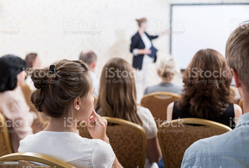 Speech during symposium stock photo