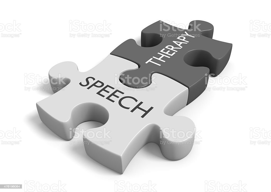 Speech therapy concept for treatment of communication and swallowing disorders stock photo