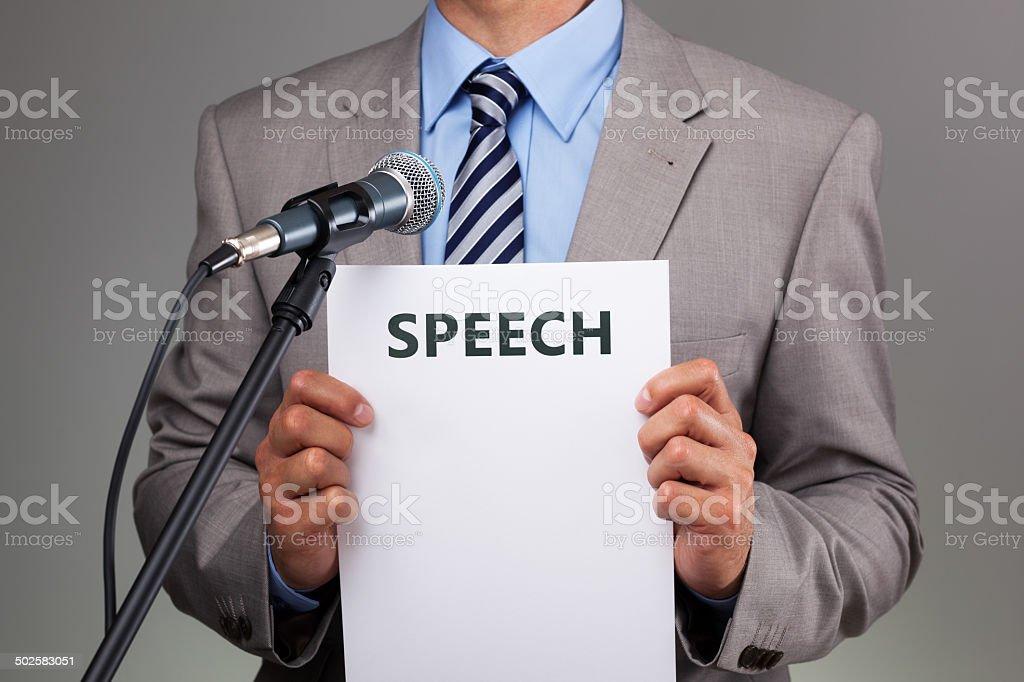 Speech with microphone stock photo