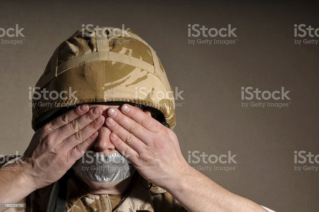 Speechless and Sightless Soldier royalty-free stock photo