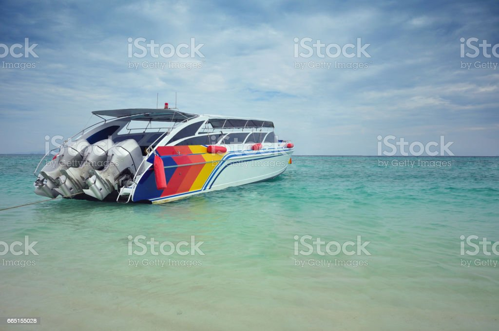 Speed ​​boat anchored in the sea. stock photo