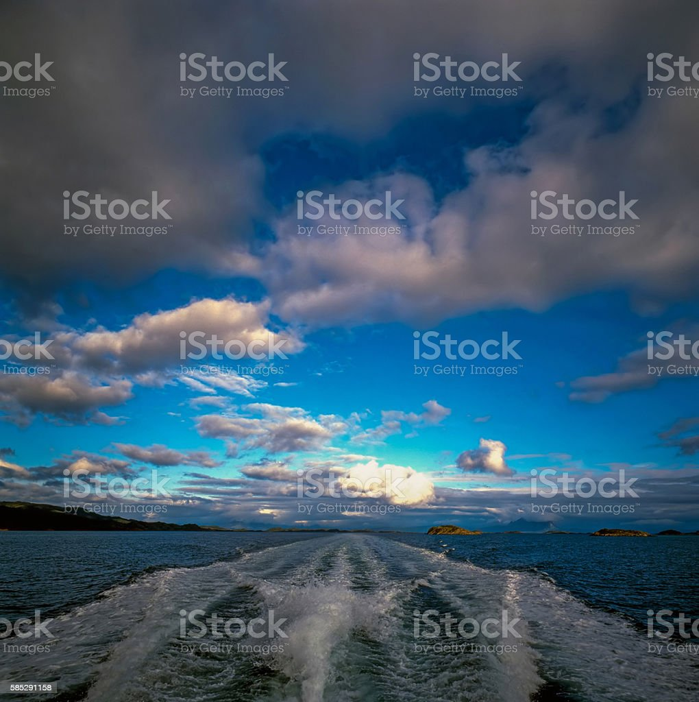 Speed Boat, North Sea, Norway stock photo