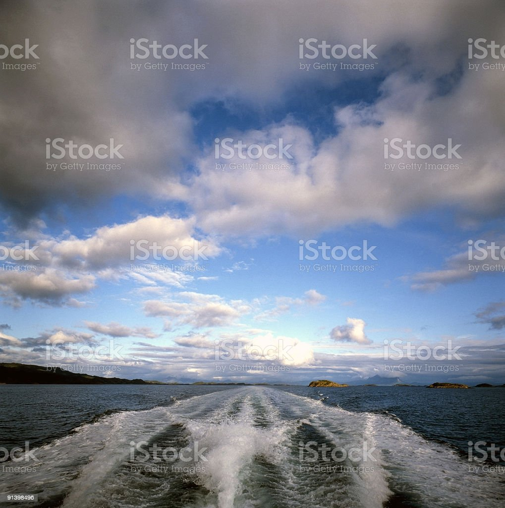 Speed Boat, North Sea, Norway royalty-free stock photo