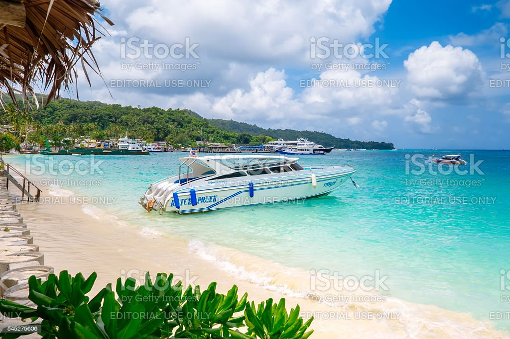Speed boat on the beach Koh Phi Phi Don, Thailand stock photo