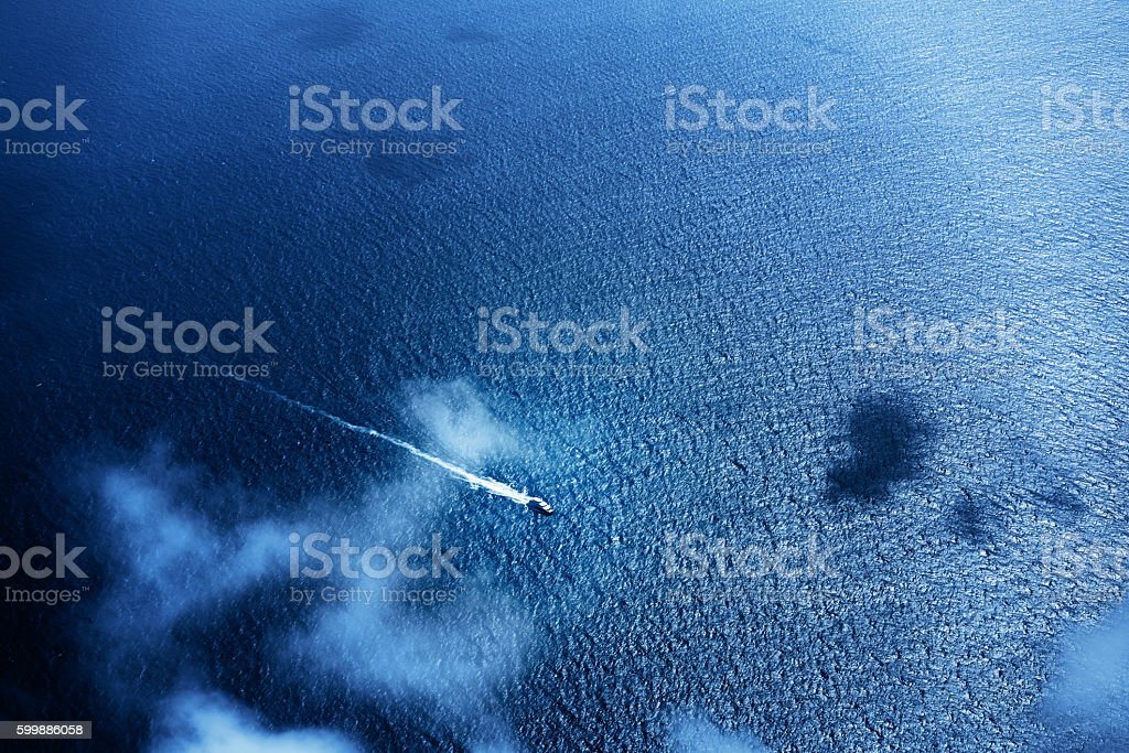 Speed boat on the tropical sea, Seychelles stock photo