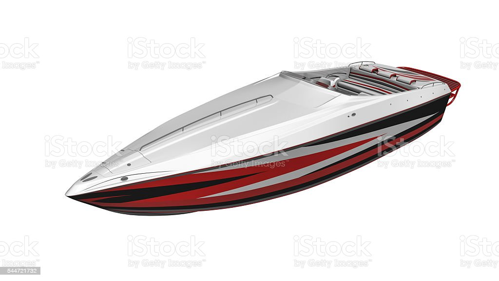 Speed boat, vessel isolated on white background stock photo